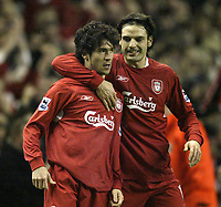 Photo: Aidan Ellis.<br /> Liverpool v Arsenal. The Barclays Premiership. 14/02/2006.<br /> Liverpool goal scorer Luis Garcia celebrates his goal with fernando Morientes