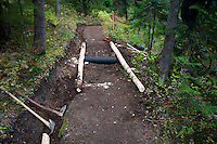 Trail work in progress in the Indian Heaven Wilderness of the Gifford Pinchot National Forest, Cascade Mountain Range, Washington state, USA