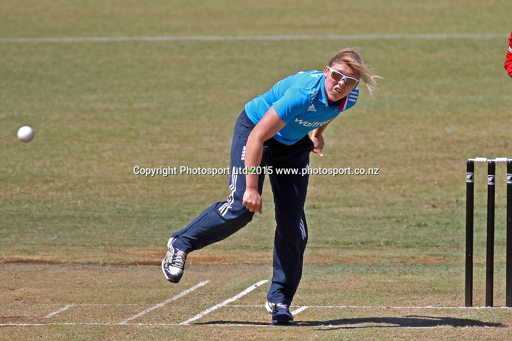 England bowler Heather Knight took a career best. 1st one day international, womens cricket match at Bay Oval, Mt Maunganui, 11 February 2015. Copyright Photo: Margot Butcher / www.photosport.co.nz