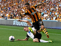 Norwich City's Steven Whittaker tackles Hull City's Robbie Brady  - Photo mandatory by-line: Matt Bunn/JMP - Tel: Mobile: 07966 386802 24/08/2013 - SPORT - FOOTBALL - KC Stadium - Hull -  Hull City V Norwich City - Barclays Premier League