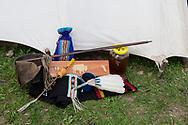 Native American Church, peyote ceremony, Crow Indian Reservation, Montana, peyote box and regalia