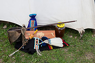 Native American Church, peyote ceremony, Crow Indian Reservation, Montana, peyote box and regalia