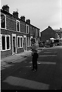 View of Belfast Barricades, Falls Rd Clonard bombay st, nationalists, homes burned, by British loyalists,  <br />