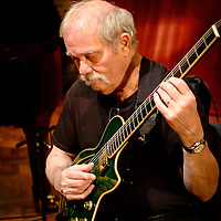 American jazz guitarist John Abercrombie during sound checks at the Turner Sims Concert Hall (Southampton, England)