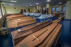 March 18, 2020, Ponte San Pietro (Bergamo) Italy: The mortuary (morgue) of Ponte San Pietro Hospital in the Province of Bergamo the area where the highest number of infection of COVID19 Coronavirus was recorded. (Credit Image: © Carlo Cozzoli/Fotogramma/ROPI via ZUMA Press)