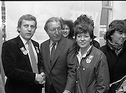 "Opening of New Ogra Fianna Fail office on O'Connell St,Dublin.1982.30.01.1982.01.30.1982.30th January 1982..Picture of Mr Haughey,.Leader of Fianna Fail, A.as he is welcomed by Mr Cillian Brioscu,.Chairman,Cumann Sean Mhisteil,Dublin. Also in the picture are members of ""Ogra"".."