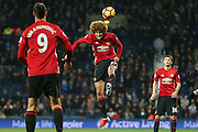 Marouane Fellaini Midfielder of Manchester United heads during the Premier League match between West Bromwich Albion and Manchester United at The Hawthorns, West Bromwich, England on 17 December 2016. Photo by Phil Duncan.