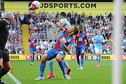 Dwight Gayle battles Aleksander Kolarov for posession during the Barclays Premier League match between Crystal Palace and Manchester City at Selhurst Park, London, England on 12 September 2015. Photo by Michael Hulf.