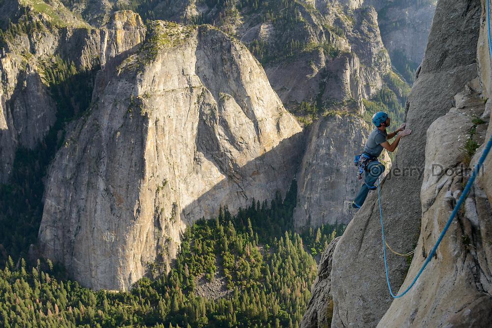 Kevin Jorgeson explores new free climbing terrain on  El Capitan in Yosemite National Park, California