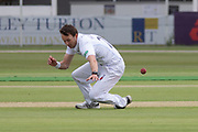 Tony Palladino fails to hang on to caught & bowled chance during the Specsavers County Champ Div 2 match between Leicestershire County Cricket Club and Derbyshire County Cricket Club at the Fischer County Ground, Grace Road, Leicester, United Kingdom on 28 May 2019.
