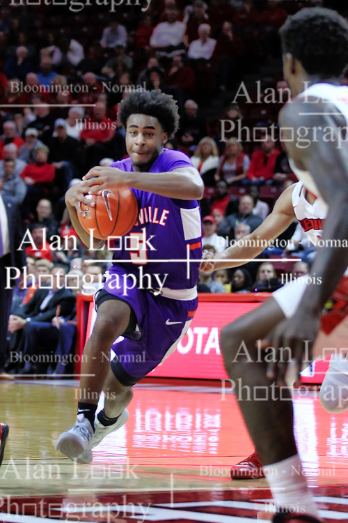 NORMAL, IL - January 05: Shamar Givance heads to the lane and defender Malik Yarbrough during a college basketball game between the ISU Redbirds and the University of Evansville Purple Aces on January 05 2019 at Redbird Arena in Normal, IL. (Photo by Alan Look)