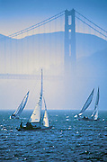 Image of Golden Gate Bridge and sailboats in San Francisco Bay, California