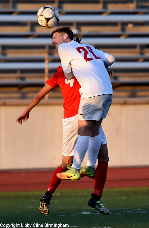 Glendora's Max Schaller (20) heads the ball in the first half of a first round CIF soccer prep soccer match against Colony High School at Citrus College in Glendora, Calif., on Friday, Feb. 16, 2018. (Photo by Libby Cline Birmingham) Glendora defeated Colony 3-0.