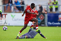 NUNEATON, ENGLAND - Sunday, July 30, 2017: Liverpool's Bobby Adekanye and PSV Eindhoven's captain Armando Obispo during a pre-season friendly between Liverpool and PSV Eindhoven at the Liberty Way Stadium. (Pic by Paul Greenwood/Propaganda)