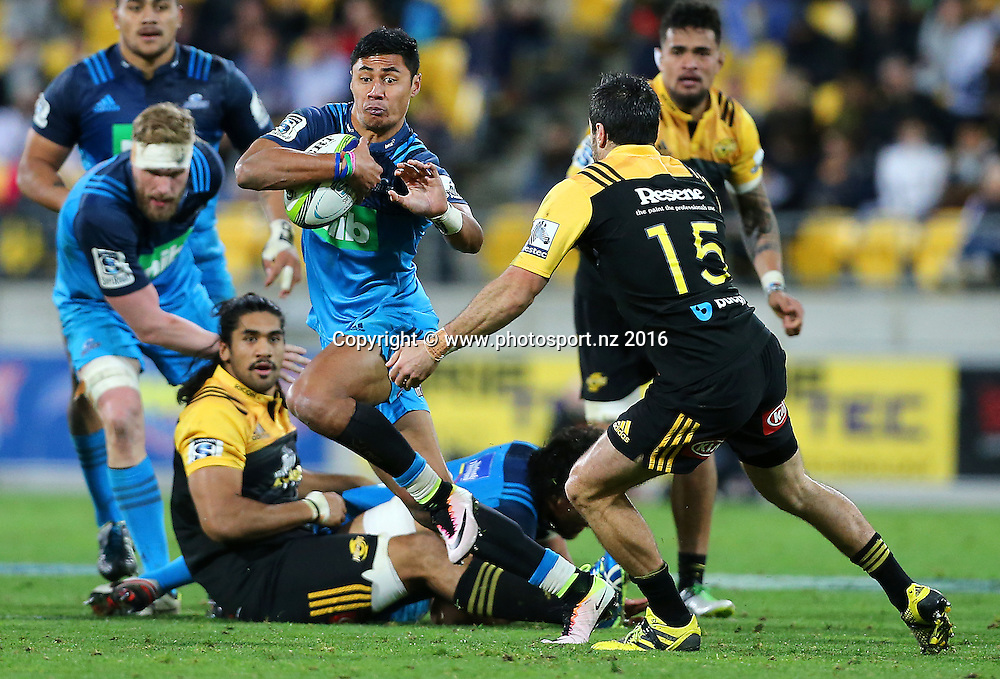 Blues' Melani Nanai runs the ball during the round 15 Super Rugby match, Hurricanes v Blues at Westpac Stadium, Wellington, New Zealand. 2nd July 2016. © Copyright Photo: Grant Down / www.photosport.nz