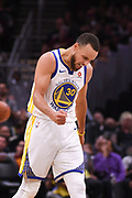 Jun 8, 2018; Cleveland, OH, USA; Golden State Warriors guard Stephen Curry (30) reacts after a play during the second quarter against the Cleveland Cavaliers in game four of the 2018 NBA Finals at Quicken Loans Arena.