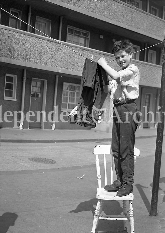 12 year old Patrick Flannery who saved a six year old boy from the Grand Canal on June 8th 1964. He is pictured outside his home in Fatima Mansions, Rialto drying his trousers.<br /> (Part of the Independent Ireland Newspapers/NLI Collection)