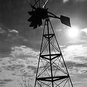 Windmill at San Tan Regional Park, back lit by the full moon - Queen Creek, AZ