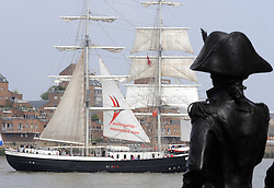 © Licensed to London News Pictures. 05/09/2014<br /> Nelson watching over the Tall ships at Park Row,Greenwich.<br /> The Tall Ships festival 2014  starts today, marking the beginning of a week-long festival filled with displays on the River Thames at Greenwich.<br /> <br /> (Byline:Grant Falvey/LNP)