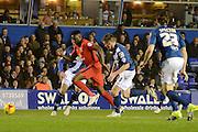 Blackburn Rovers midfielder Hope Akpan burst away during the Sky Bet Championship match between Birmingham City and Blackburn Rovers at St Andrews, Birmingham, England on 3 November 2015. Photo by Alan Franklin.
