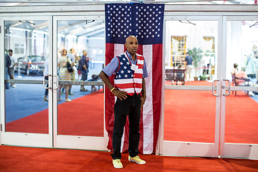 A worker at the American Presidential Experience exhibit on Sunday, September 2, 2012 in Charlotte, NC.