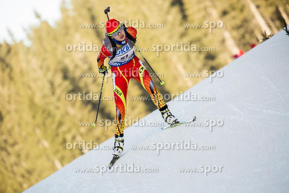 Jialin Tang (CHN) competes during Women 7,5 km Sprint at day 2 of IBU Biathlon World Cup 2015/16 Pokljuka, on December 18, 2015 in Rudno polje, Pokljuka, Slovenia. Photo by Vid Ponikvar / Sportida