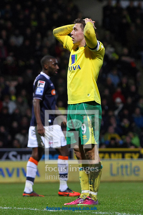 Picture by Paul Chesterton/Focus Images Ltd +44 7904 640267.26/01/2013.Grant Holt of Norwich shows his frustration during The FA Cup 4th Round match at Carrow Road, Norwich.