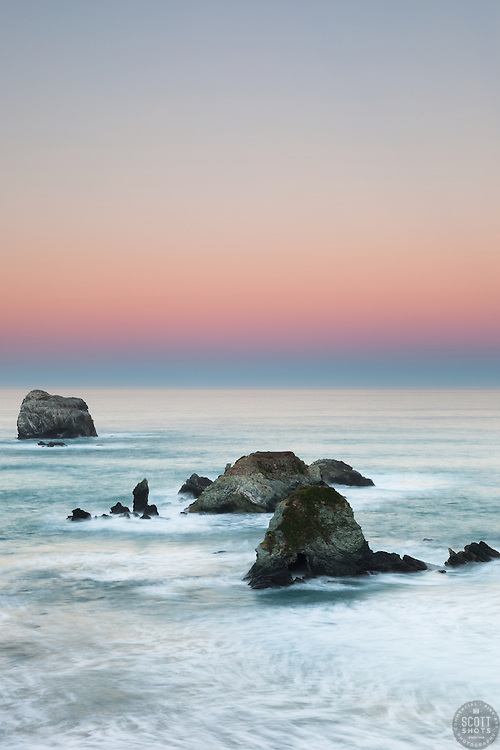 """Dawn at Plaskett Rock 2"" - Photograph of Big Sur's Plaskett Rock at dawn."