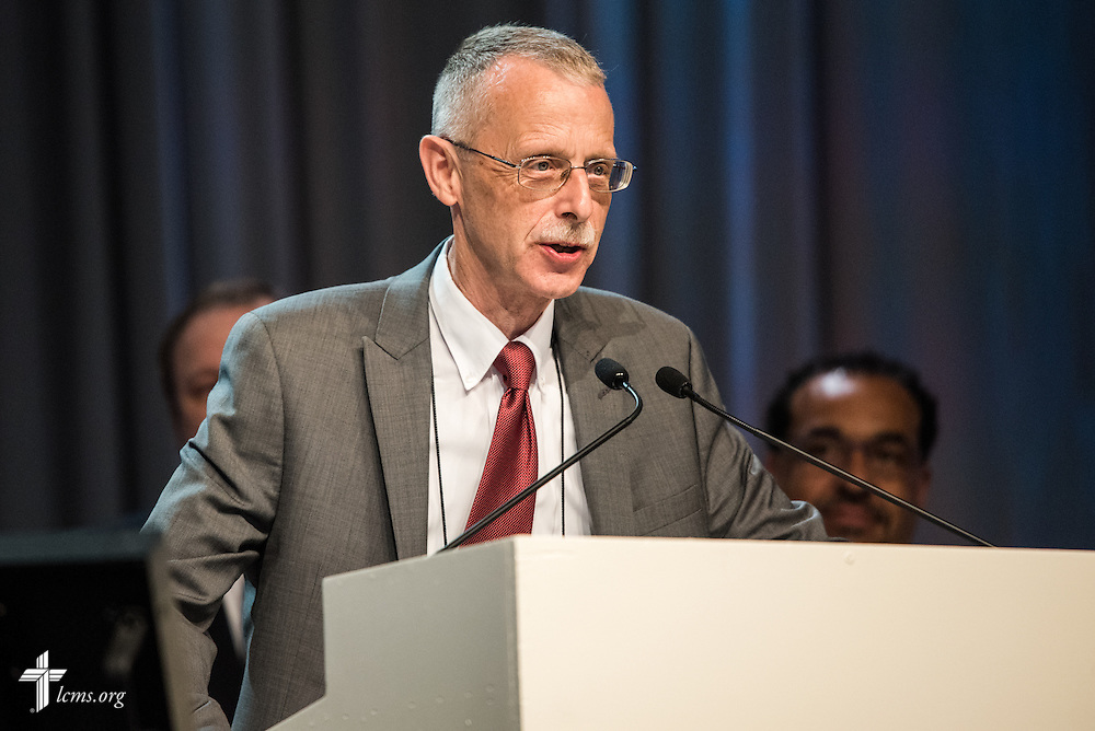 The Rev. Dr. Daniel Lee Gard, president of Concordia University Chicago, speaks Monday, July 11, 2016, at the 66th Regular Convention of The Lutheran Church–Missouri Synod, in Milwaukee. LCMS/Frank Kohn