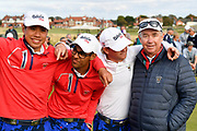 Nathaniel Crosby (USA) Team Captain (right), John Augentsein (USA), Akshay Bhatia (USA) and Isaiah Salinda (USA) during the Sunday Singles in the Walker Cup at the Royal Liverpool Golf Club, Sunday, Sept 8, 2019, in Hoylake, United Kingdom. (Steve Flynn/Image of Sport)