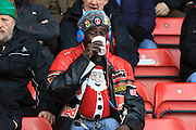 Charlton Athletic fan before kick off of the Sky Bet Championship match between Bristol City and Charlton Athletic at Ashton Gate, Bristol, England on 26 December 2015. Photo by Jemma Phillips.