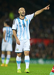 MANCHESTER, ENGLAND - Tuesday, November 18, 2014: Argentina's Javier Mascherano in action against Portugal during the International Friendly match at Old Trafford. (Pic by David Rawcliffe/Propaganda)