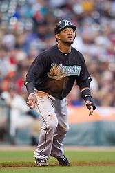 July 26, 2010; San Francisco, CA, USA;  Florida Marlins third baseman Emilio Bonifacio (1) leads off third base during the first inning against the San Francisco Giants at AT&T Park.  Florida defeated San Francisco 4-3.