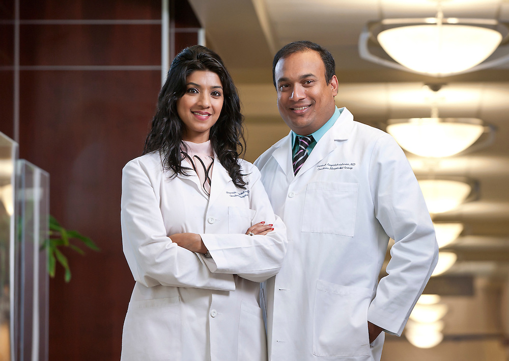 An image of a male and female Indian doctors photographed Carolinas Medical Center in Pineville, North Carolina.