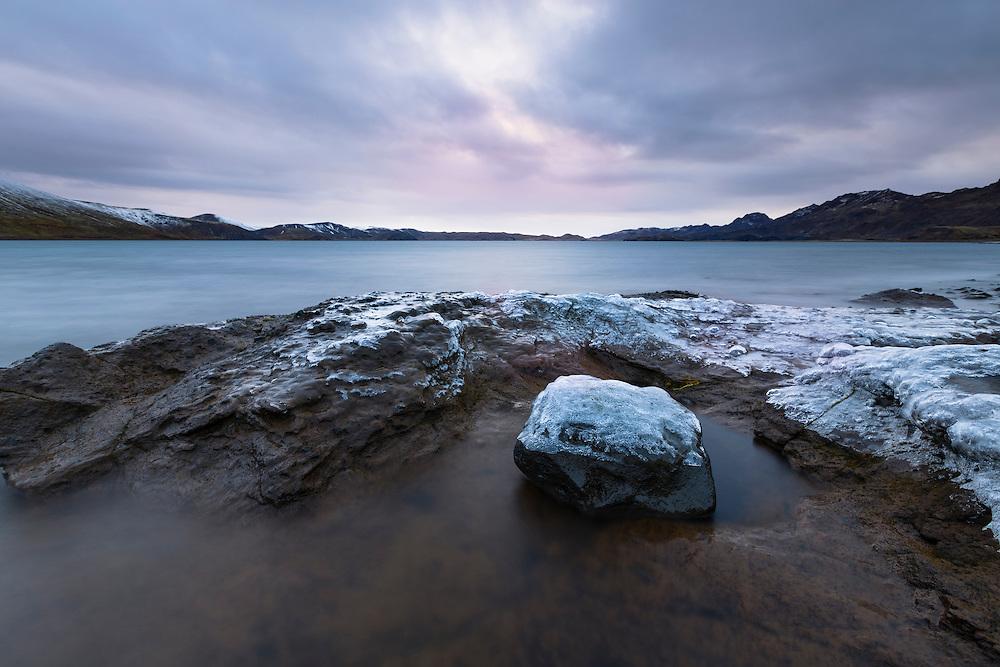 Icy rocks at Kleifarvatn