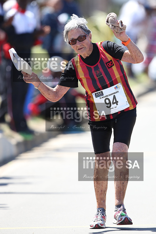GEORGE, SOUTH AFRICA - OCTOBER 21: Cecily Rootenberg (93) of Central Gauteng Athletics (CGA) walks the women's 20km during the ASA Race Walking Championship at Pacaltsdorp on October 21, 2017 in Goerge, South Africa. (Photo by Roger Sedres/Gallo Images)