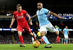 Fabian Delph of Manchester City and James Milner of Liverpool  - Mandatory byline: Matt McNulty/JMP - 07966 386802 - 21/11/2015 - FOOTBALL - Etihad Stadium - Manchester, England - Manchester City v Liverpool - Barclays Premier League