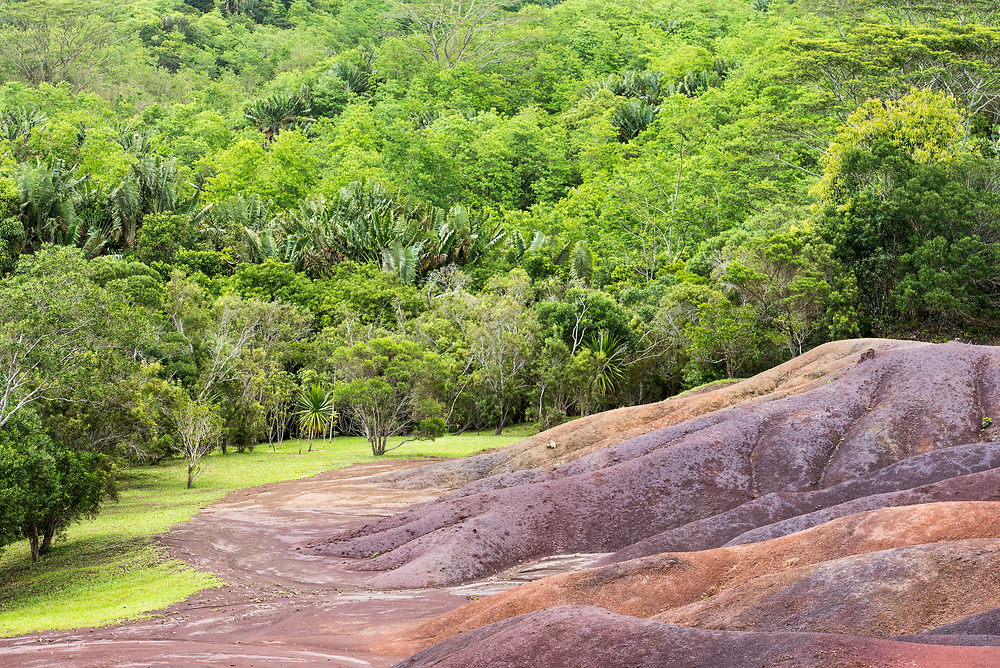 The seven colored earths bleed into the surrounding lush forest.