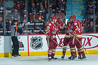 REGINA, SK - MAY 20: Acadie-Bathurst Titan celebrates a goal against the Regina Pats at the Brandt Centre on May 20, 2018 in Regina, Canada. (Photo by Marissa Baecker/CHL Images)