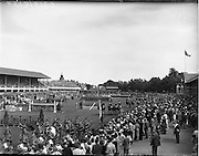 5/08/1960<br /> 05/08/1960<br /> 05 August 1960<br /> R.D.S Horse Show Dublin (Friday). Aga Khan Trophy. A general view of the Parade of Nations, before the Aga Khan Jumping Competition at the R.D.S, Horse Show, Ballsbridge, Dublin. Led by the eventual winners Argentina.