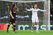 Tottenham Hostpur midfielder Deli Alli (20) appealing for a penalty during the Champions League match between Tottenham Hotspur and Bayer Leverkusen at Wembley Stadium, London, England on 2 November 2016. Photo by Matthew Redman.