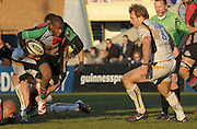 Twickenham, GREAT BRITAIN,  left, ugo MONYE, looks to get past Warriors Drew HICKEY, during the Guinness Premiership match, Harlequins vs Worcester Warriors, played at the Twickenham Stoop on Sat. 16th Feb 2008.  [Mandatory Credit, Peter Spurrier/Intersport-images]