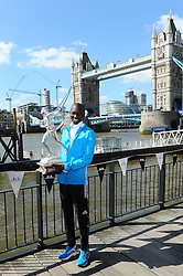 Wilson Kipsang during the photocall for the 2014 London Marathon Elite Runners Race Winners, Tower Hotel, London, United Kingdom. Monday, 14th April 2014. Picture by Chris Joseph / i-Images
