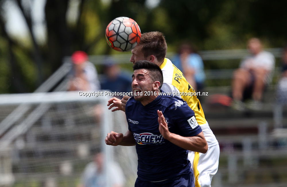 Auckland's Emiliano Tade up against Eastern Suburbs Tristan Prattley. Stirling Sports Premiership, Round 9, Eastern Suburbs v Auckland City FC, Bill McKinlay Park Auckland, Sunday 18th December 2016. Copyright Photo: Shane Wenzlick