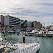 Cabo San Lucas Marina viewd from a yacht. BCS, Mexico.