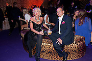 AMANDA ELIASCH; TOUKER SULEYMAN, Dinner and party  to celebrate the launch of the new Cavalli Store at the Battersea Power station. London. 17 September 2011. <br /> <br />  , -DO NOT ARCHIVE-© Copyright Photograph by Dafydd Jones. 248 Clapham Rd. London SW9 0PZ. Tel 0207 820 0771. www.dafjones.com.