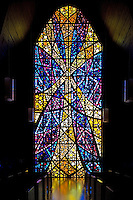 Stained glass windows at Nazareth Hall Chapel, El Paso, Texas.