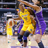 24 July 2014: Los Angeles Sparks forward Nneka Ogwumike (30) posts up Phoenix Mercury forward Mistie Bass (8) during the Phoenix Mercury 93-73 victory over the Los Angeles Sparks, at the Staples Center, Los Angeles, California, USA.