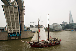 © Licensed to London News Pictures. 06/09/2014. Spanish schooner Atyla going under Tower Bridge.The biggest tall shop event on the Thames has continued across the weekend. Up to a million people are expected to visit Greenwich during the course of the Royal Greenwich Tall Ships Festival which has brought 50 vessels to the capital. Credit : Rob Powell/LNP