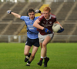 Balla's Cillian Golden gets past Westport's Declan Shanaghan during the Mayo Minor County A Final.<br />Pic Conor McKeown
